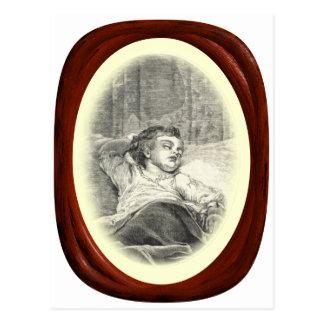 Viktorianische Mutter, die über Kind aufpasst Postkarte