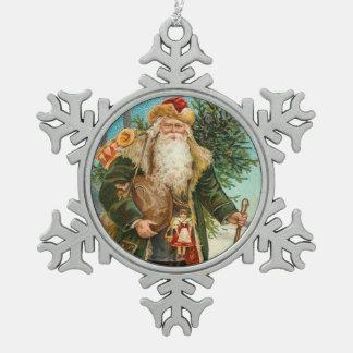 Viktorianische Sankt, die Spielwaren liefert Schneeflocken Zinn-Ornament