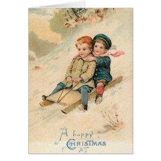Viktorianische Sledding glückliches Karte