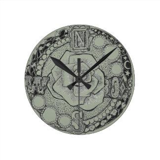 Viktorianische Steampunk Kompass-Rose Runde Wanduhr