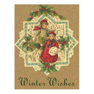 Viktorianische Weihnachtsbell-Postkarte Postkarten