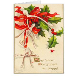 Viktorianische Wunsch-Knochen-Weihnachtskarte Karte