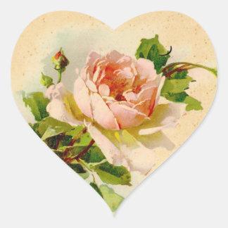 Viktorianischer rosa Rosen-Aufkleber-Umbau Herz-Aufkleber