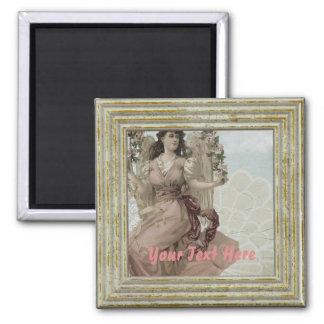 Viktorianischer Vintager Engel Quadratischer Magnet