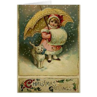 Viktorianisches Kind und Katze in der Schnee-Weihn Grußkarte