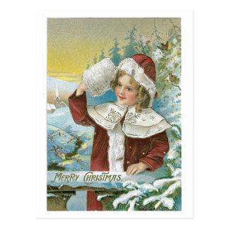 Viktorianisches Mädchen - frohe Weihnachten Postkarte