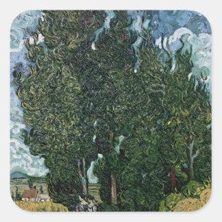 Vincent van Gogh | die Zypressen, c.1889-90 Quadratischer Aufkleber