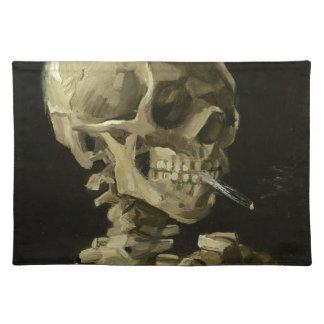 Vincent van Gogh-Kopf eines Skeletts mit Zigarette Stofftischset