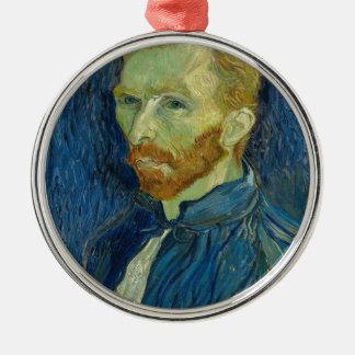 Vincent van Gogh-Selbstporträt-Kunstwerk Silbernes Ornament