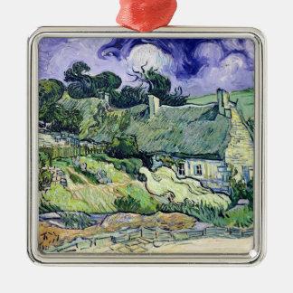 Vincent van Gogh | Thatched Hütten bei Cordeville Quadratisches Silberfarbenes Ornament