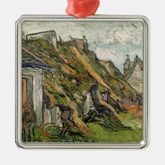 Vincent van Gogh | Thatched Hütten in Chaponval Quadratisches Silberfarbenes Ornament