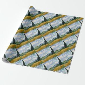 Vincent van Gogh-Weizen-Feld mit Zypressen-Kunst Geschenkpapier