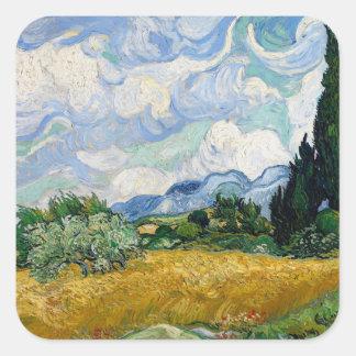 Vincent van Gogh-Weizen-Feld mit Zypressen-Kunst Quadratischer Aufkleber