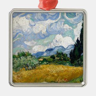 Vincent van Gogh-Weizen-Feld mit Zypressen-Kunst Silbernes Ornament