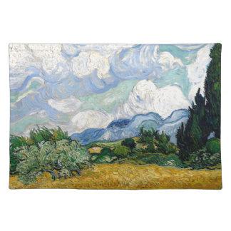 Vincent van Gogh-Weizen-Feld mit Zypressen-Kunst Tischset