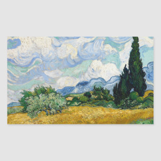 Vincent van Gogh - Weizen-Feld mit Zypressen Rechteckiger Aufkleber