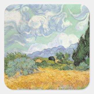 Vincent van Gogh | Wheatfield mit Zypressen, 1889 Quadratischer Aufkleber