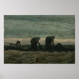 Vincent van Gogh - zwei Frauen auf dem Heide Poster