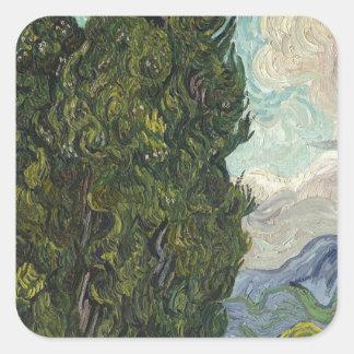 Vincent van Gogh - Zypressen-Malen Quadratischer Aufkleber