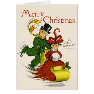Vintag-Ähnliche Sledding Paar-Weihnachtskarte Karte