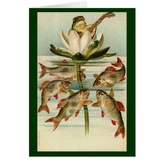 Vintag - der Entertainer-Frosch Karte