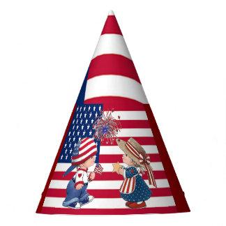 Vintag feiern Sie amerikanische Flagge und scherzt Partyhütchen