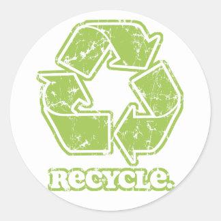 Vintag recyceln Sie Zeichen Runde Sticker
