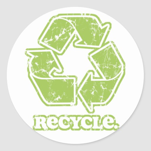 Vintag recyceln Sie Zeichen Runder Aufkleber
