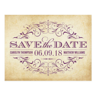 Vintag Save the Date Wedding | Strudel und blühen Postkarte