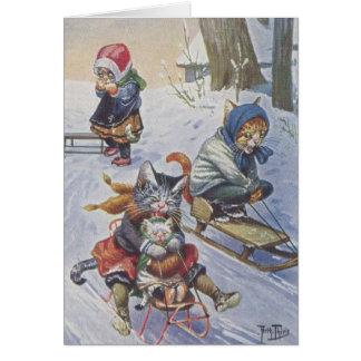 Vintag - Schnee-Sledding Katzen, Karte