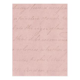 Vintage 1700s rosa Rosen-Text-kolonialpergament Postkarte