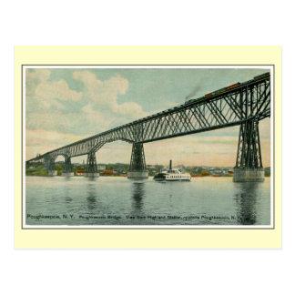 Vintage 1913 Poughkeepsie Brücke, Zug, Boot Postkarte