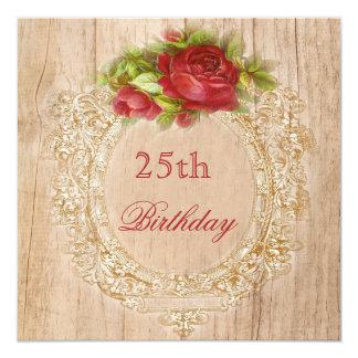 Vintage 25. Geburtstags-Rosen-Holzrahmen Quadratische 13,3 Cm Einladungskarte