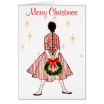 Vintage 50er Weihnachtsmädchen-Karte Grußkarte