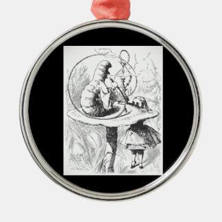 Vintage Alice im Wunderland-Raupen-Verzierung Rundes Silberfarbenes Ornament