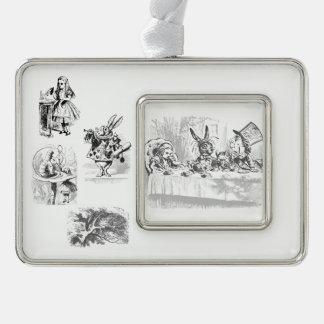Vintage Alice im Wunderland-Tee-Party-Verzierung Rahmen-Ornament Silber