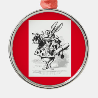 Vintage Alice im Wunderland-weiße Silbernes Ornament
