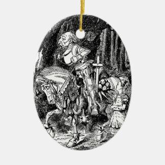 Vintage Alice im Wunderland-weißer Ritter auf Ovales Keramik Ornament