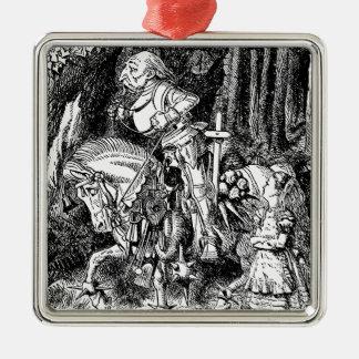 Vintage Alice im Wunderland-weißer Ritter auf Silbernes Ornament