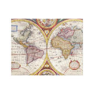 Vintage antike alte Weltkartenkartographie Gespannte Galeriedrucke