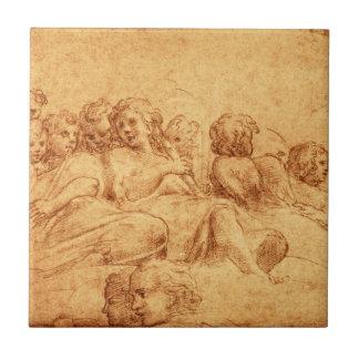 Vintage antike Chor-Engel, die Renaissance zeichne Kleine Quadratische Fliese