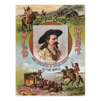 Vintage Anzeige der Büffel-Rechnungs-wildes Postkarte