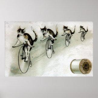 Vintage Anzeige - Katzen auf Fahrrädern Poster