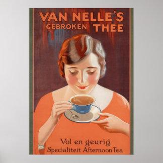 Vintage Anzeigen-Plakate, Frauen-trinkender Tee Poster