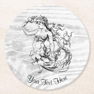 Vintage Art-Meerjungfrau Ihre Farbe Runder Pappuntersetzer