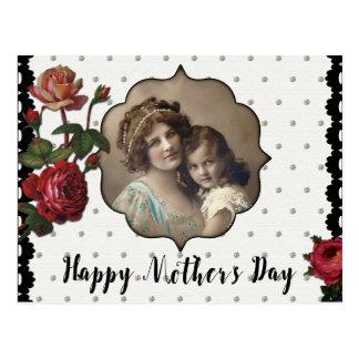 Vintage Art-Mutter und Kind mit Rosen Postkarte