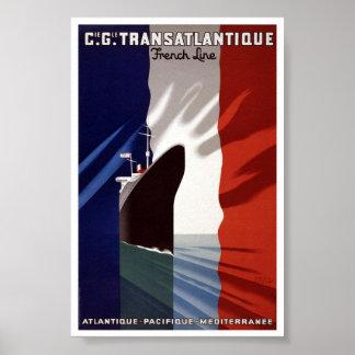 Vintage Atlantque Pacifique Mediterrane Reise Poster