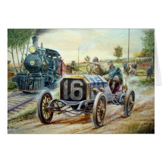 Vintage Auto-Laufenszene, Zugmalerei Grußkarte