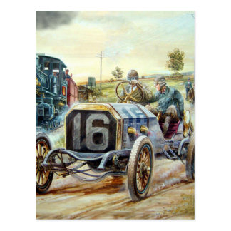 Vintage Auto-Laufenszene, Zugmalerei Postkarte