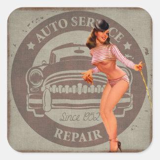 Vintage Auto-Reparatur-Retro Dame Sticker